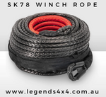 10mm x 30m SK78 Dyneema Synthetic Winch Rope (Black) With Black G80 Snap Hook