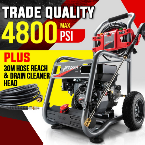 Commercial 7hp 4800psi Pressure Washer With 30m Hose