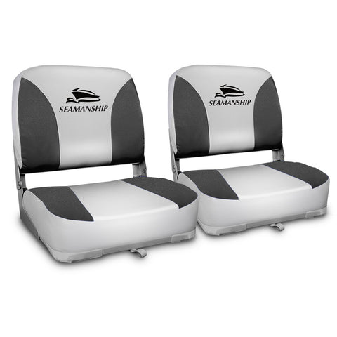 Set of 2 Swivel Folding Boat Seats - Grey