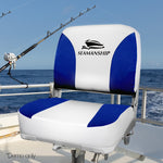 Set of 2 Swivel Folding Boat Seats - White & Blue