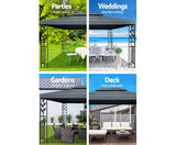 4x3m Party Marquee Outdoor Wedding Event Tent Iron Art Canopy Grey