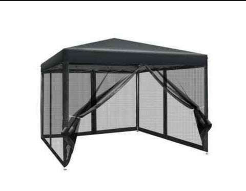 3x3m Wedding Mesh Side Wall Outdoor Gazebos Black