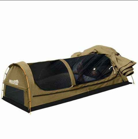 Double Swag Camping Swags Canvas Dome Tent Hiking Mattress Khaki