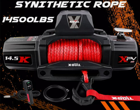 OFF-ROAD 4X4 Electric Winch 12V 14500LBS Synthetic Rope Wireless Remote