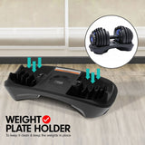 48KG ADJUSTABLE DUMBBELL SET WITH STAND BLUE