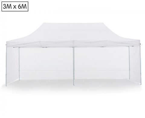 3x6M Heavy Duty Gazebo With Walls (White)