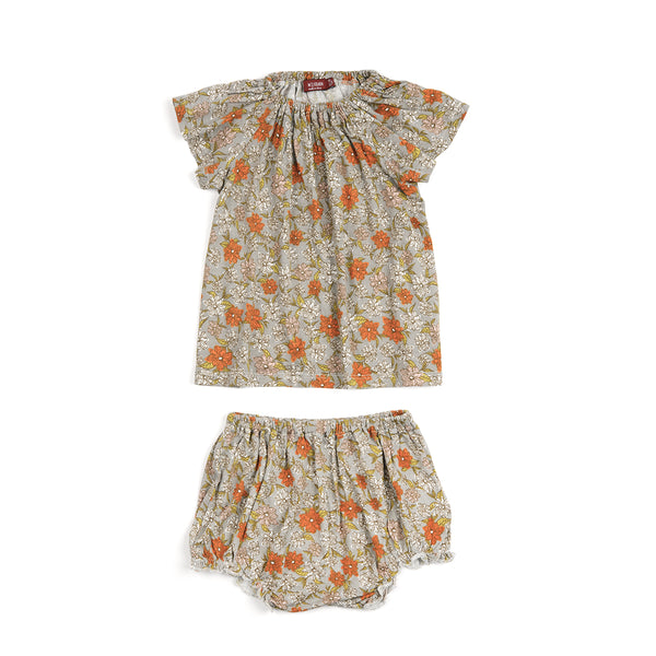 Dress & Bloomer Set - Grey Floral