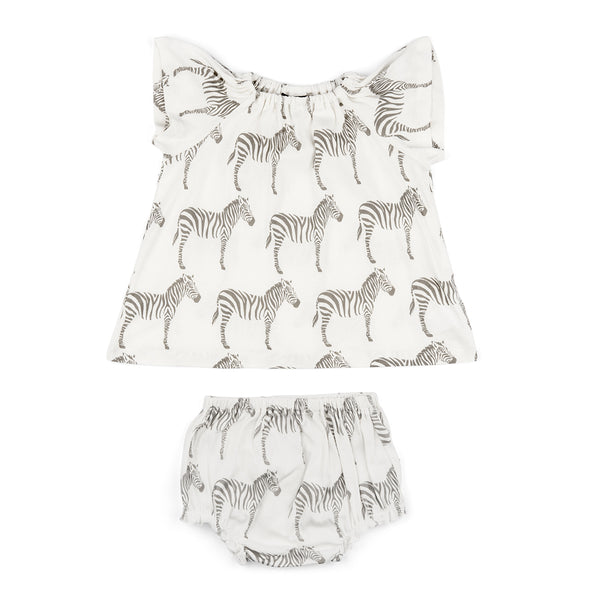 Organic Cotton Dress & Bloomer Set - Grey Zebra