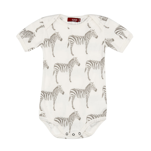 Organic Cotton One Piece - Grey Zebra