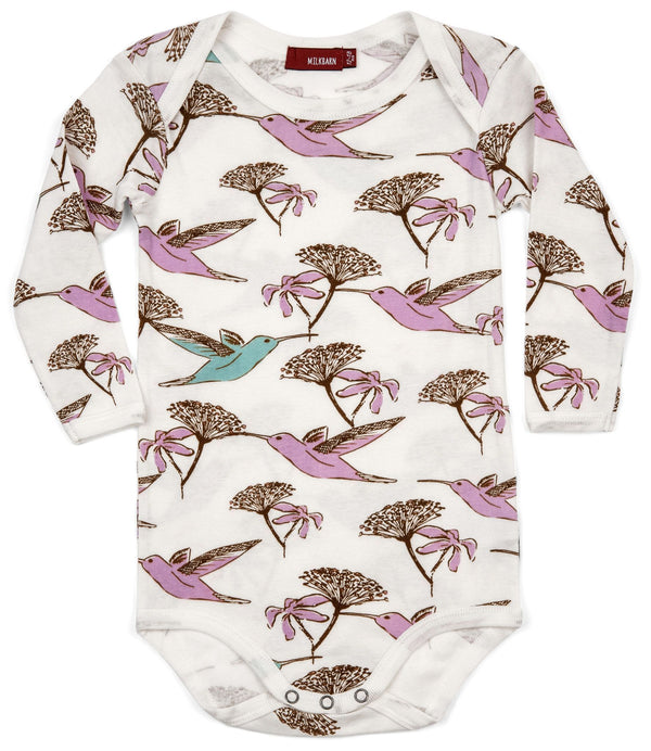 Organic Cotton Long Sleeve One Piece - Hummingbird