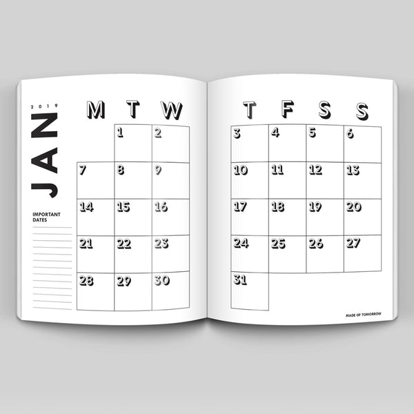 2019 Daily Planner - Pale Grey