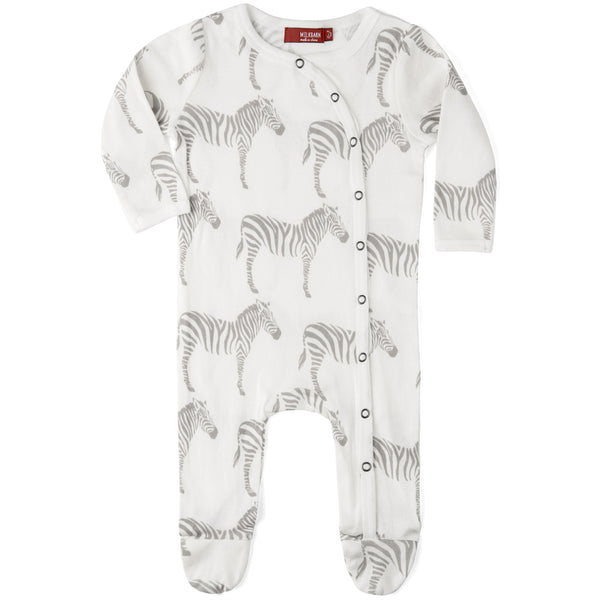 Organic Cotton Footed Romper - Grey Zebra