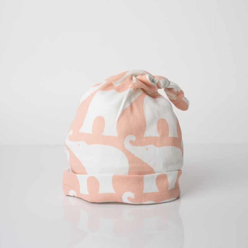 Organic Cotton Knotted Hat - Rose Elephant