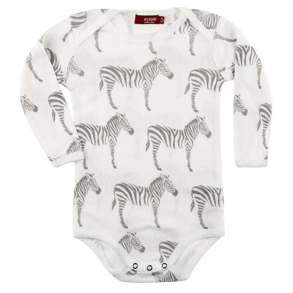 Organic Cotton Long Sleeve One Piece - Grey Zebra
