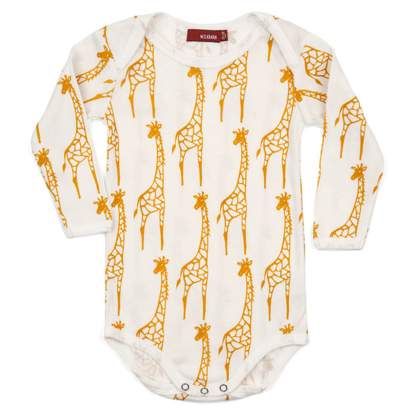 Organic Cotton Long Sleeve One Piece - Yellow Giraffe