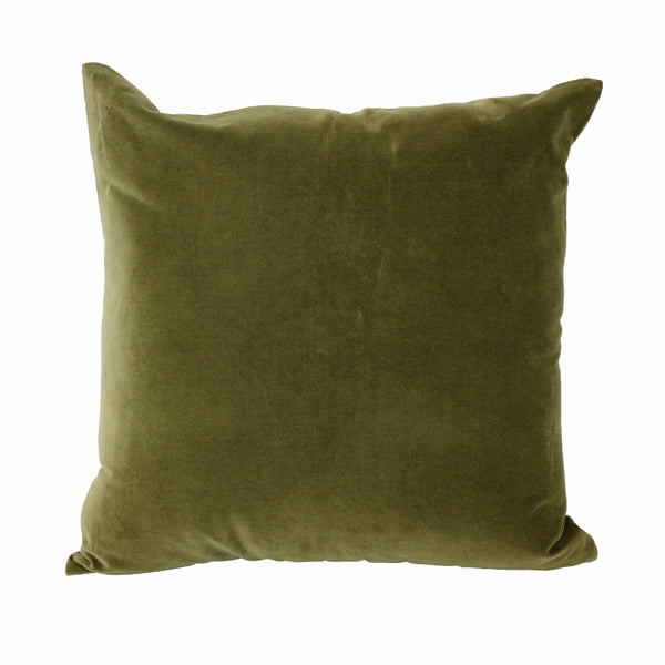 Velvet Cushion with Linen Back - Olive