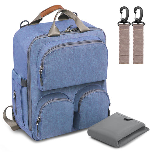 Multi-Pocket Blue Diaper Bag - mommythingz