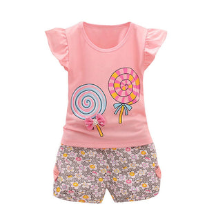2PCS Cute Girls Bow-knot Tops+Short - mommythingz