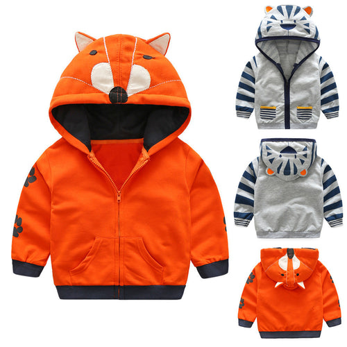 Toddler Cartoon Animal Hooded Zipper For Boy / Girls - mommythingz