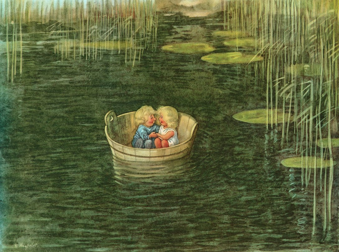 Teich, Kinder, Illustration