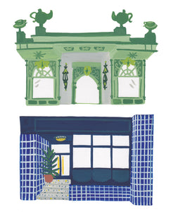 Illustration of Fortnum & Mason and hotel The Pilgrm in London
