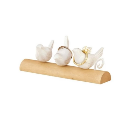 Ring Holder - Wooden White & Natural 3 Birds