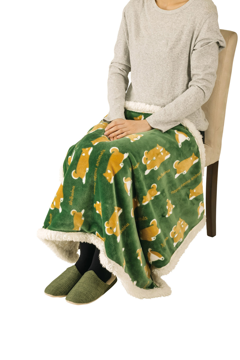 Nemunemu Animals Warm Blanket - Green /Kotaro
