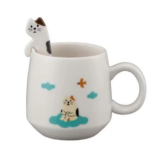 Mug with Three Wool Cat Spoon 三色貓匙羹連杯