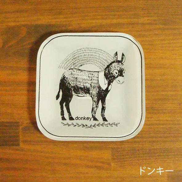 Animal Glass Plate Square Plate (S) - Donkey 動物系列玻璃碟 - 驢