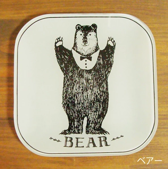 Animal Glass Plate Square Plate (L) - Bear 動物系列玻璃碟 - 熊人