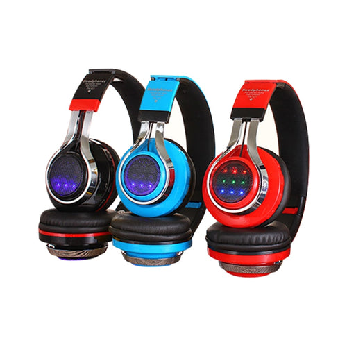 Fashion Glowing Stereo Casque Audio Bluetooth Headphone Wireless Big Headset Sport Earphone Mic LED Light UP + Mic FM TF Mode