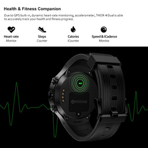 "Zeblaze THOR 4 Dual Smart Watch 4G LTE Android Quad Core 1GB+16GB Dual Camera 1.4"" AOMLED GPS/GLONASS WiFi Heart Rate Smartwatch"