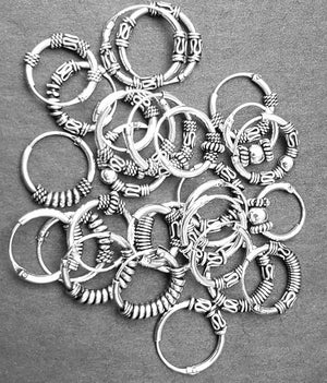 Hoops in sterling silver / sølv with ornament