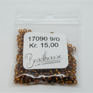 Brune Glasperler, seed beads, quality topaz, silver lined
