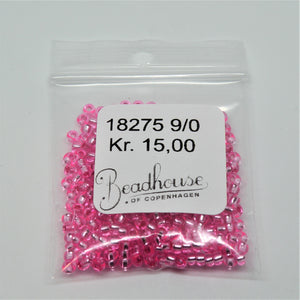 Pink Glasperler, seed beads, pink transparent, silver lined