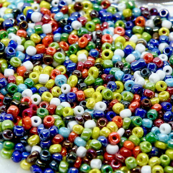Blandede Glasperler, seed beads, mixed luster