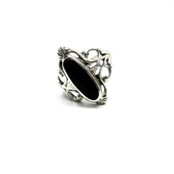 Fingerring i sterling sølv med onyx