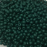 Grønne glasperler, seed beads, shiny green