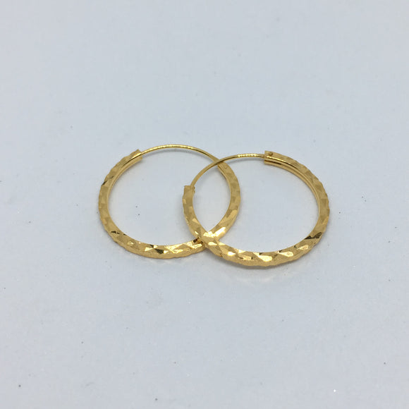 Øreringe, hoops med facet mønster, 24 karat forgyldt sterlingsølv 20 x 1,5 mm
