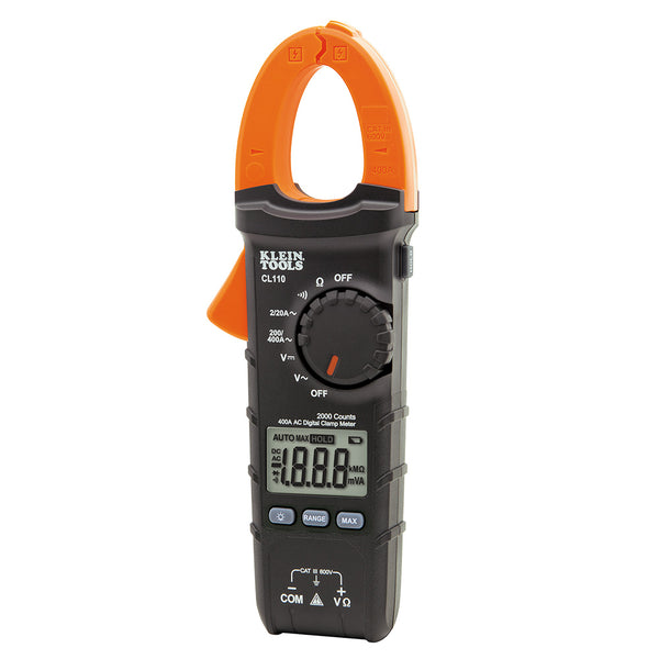 Klein Tools Digital Clamp Meter, AC Auto-Ranging 400 Amp #CL110