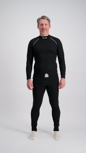 Fireproof Underwear Top & Pants - Super Soft Touch Nomex - FIA Approved - BLACK