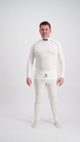 Fireproof Underwear Top & Pants - Super Soft Touch Nomex - FIA Approved - WHITE