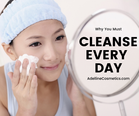 Woman using cleanser every day