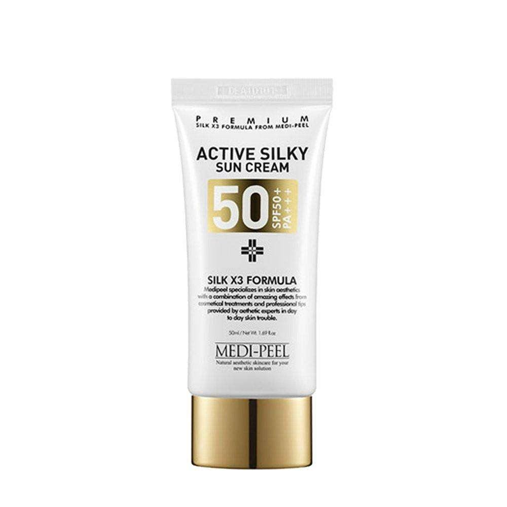 Makeup - [Medi-Peel] Active Silky Sun Cream (SPF50+ / PA+++) [50ml] - Активно- солнцезащитный крем [50ml]+V18C136:N166 - Adelline Beauty