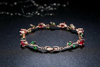 Leaf Chain & Link Bracelet With Red & Green AAA Zircon - Bracelets - Proshot Bazaar