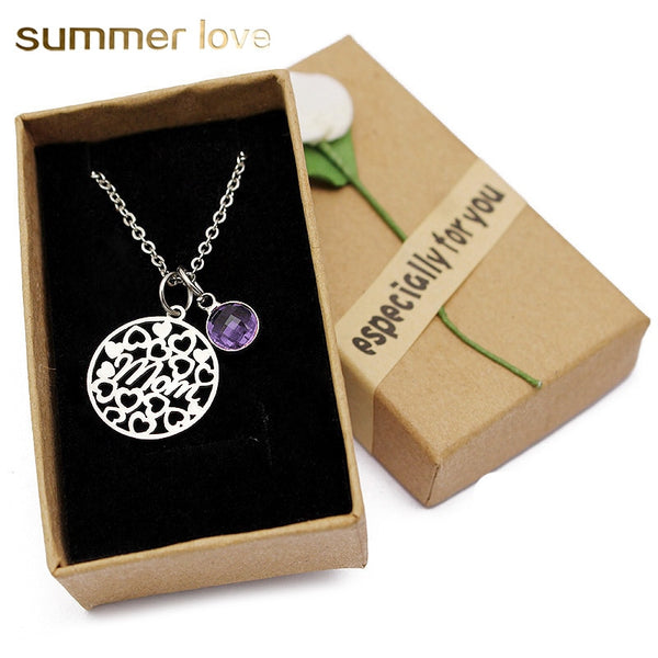 Love Heart Mom Necklace With Crystal Birthstone Pendant - Necklaces - Proshot Bazaar