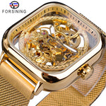 Mechanical Automatic Self-Wind Transparent Fashion Mesh Steel Men Wristwatch - Watches - Proshot Bazaar