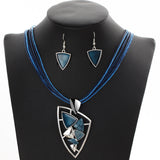 ZOSHI Fashion African Leather Chain Enamel Gem Jewelry Set - Necklaces - Proshot Bazaar