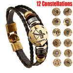 12 Zodiac Sign Vintage Bronze Handmade Fashion Charm Leather Twelve Constellation Cuff Bracelet - Bracelets - Proshot Bazaar