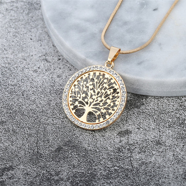Tree Of Life Crystal Pendant Necklace - Necklaces - Proshot Bazaar